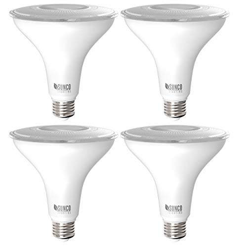 Sunco Lighting 4 Pack PAR38 LED Bulb 13W=100W, 5000K Daylight, 1050 LM, Dimmable, Indoor/Outdoor Spotlight, Waterproof - UL & Energy Star