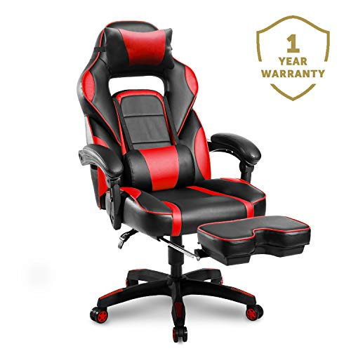 (Merax Racing Office Desk Chair Gaming Ergonomic Chair Footrest Adjustable Armrests Home Office Computer Computer Chair)