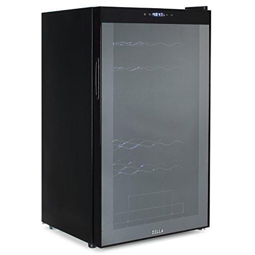 DELLA Dual Zone Wine Cooler Refrigerator Mini Wine Fridge Champagne Bottle Chiller Freestanding Counter top 33 Bottle