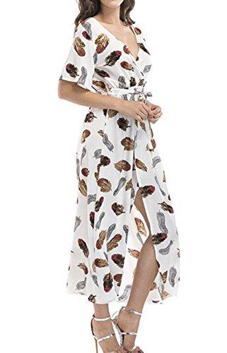 Longue Rayures Fleur Haute Maxi Voyage Imprim lgante Snone Soire lgant I courte Femme Plage Manche Robe FYwxYqXA4z