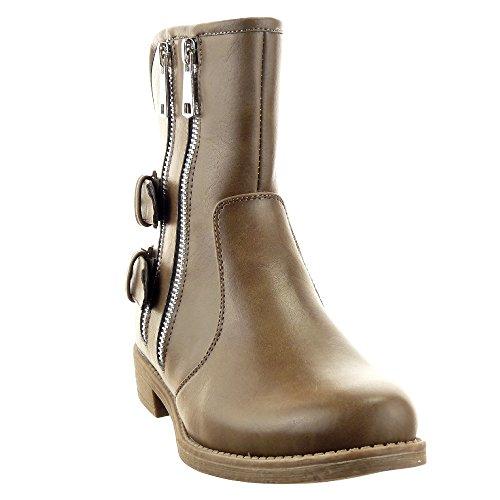 Sopily - Zapatillas de Moda Botines Botas militares Low boots Media pierna mujer Hebilla Cremallera Talón Tacón ancho 3 CM - plantilla textil - Taupe