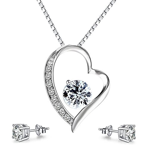 Turantu Gifts for Women 925 Sterling Silver Forever Love heart pendant necklace&Earrings Set Women Jewelry (High End Halloween Costumes For Couples)