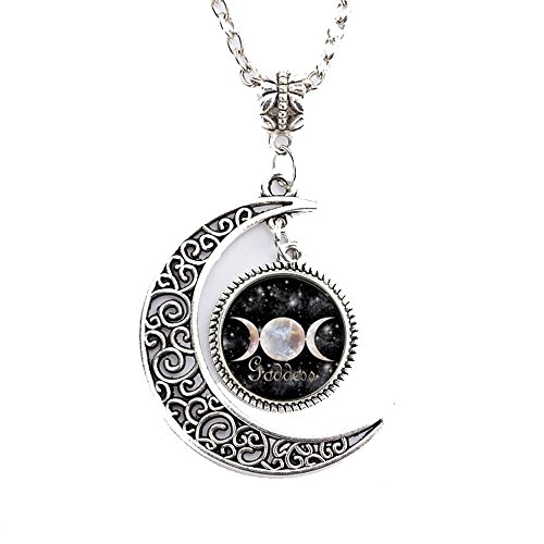 Grenf Fashion Full Moon Necklace Glass Art Picture Triple Goddess Pendant, Wiccan Jewelry, Moon Goddess Jewelry, Wiccan Charm Necklace Hollow Moon Time Gems Shape Pendant (Sky Moon Gemstone - ()