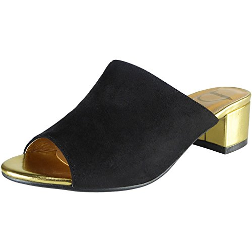 sandales Suède Peeptoe 36 Faible Nouvelles Bloc 41 Noir Mules Taille Talon Des Femmes zIW74wqW0