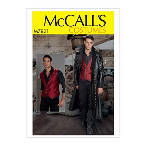 McCall's Patterns M7821MWW MCC 7821 McCall's M7821 MWW Sewing Pattern Men's Wide Lapel Long Leather Coat & Laced Back Vest Costume, Size 38-44
