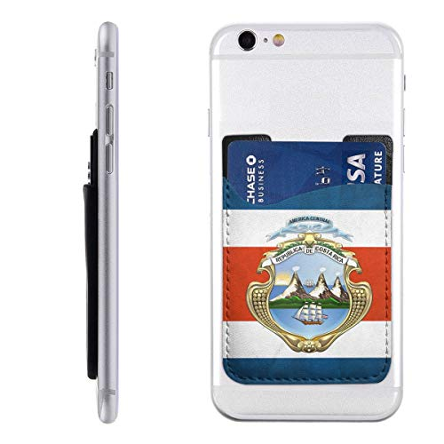 Costa Rica Flag Pattern Phone Pocket Phone Wallet Cell Phone Stick On Wallet Card Holder -