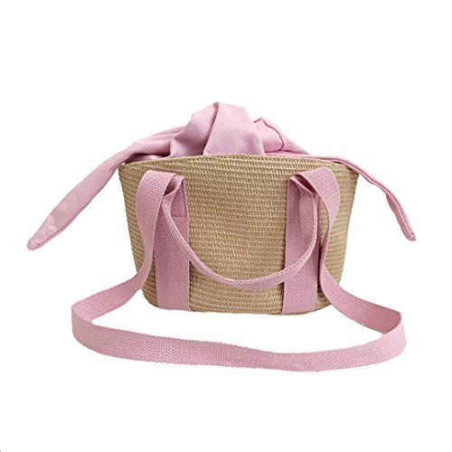 Female Exquisite Straw Ladies SS3140 Beach Weave Handbag Pink Summer Bags Bag MANFDGABNGS Travel Shoulder Women Fashion 8qwBnR