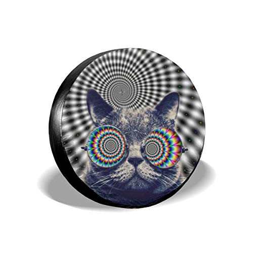 (Spare Tire Cover Waterproof - Universal Fit Tire Covers for Jeep, Trailer, RV, SUV, Truck Ect, Funny Cat with Kaleidoscope Glasses Printed Wheel Accessories Protector Diameter (60-83cm))