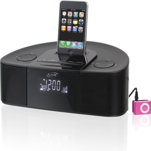 iLive Intelli-set Clock Radio with Docking and Recharging for iPod and iPhone Players (Black)