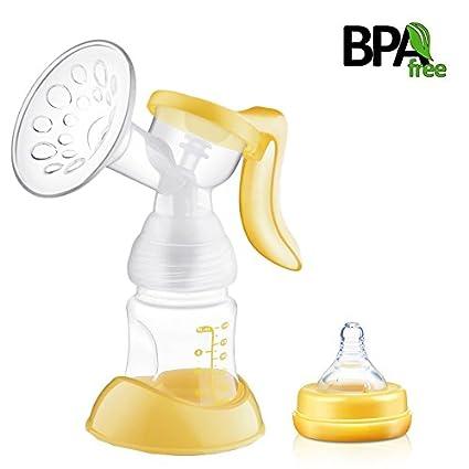 Manual bomba de mama, único lactancia sin BPA silicona succión con cepillo de botella y Tetina – reducir el dolor, naturaleza Touch amarillo amarillo
