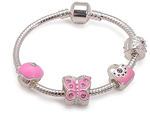 Liberty Charms Childrens 'Pretty in Pink' Silver Plated Charm Bracelet. With Gift Box & Velvet Pouch (Bc27 Paper)