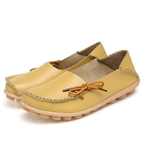 YYF Loafers Flats Slipper Leather Women's Driving Moccasins Loafers Yellow Shoes Pumps Flats BYqrBIfvxw