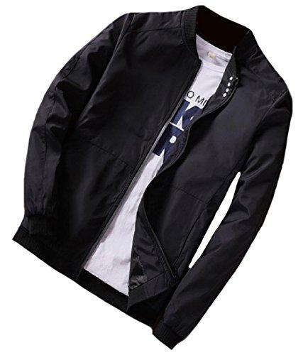 Regular Fit Jacket Front Top Black Comfy Juniors Chic Zip Mens Mogogo wtq7CEI4t