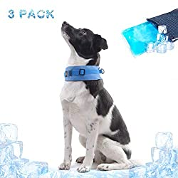 """SCIROKKO 3 Pack Dog Cooling Collar with Adjustable Neck Size - Summer Chill Out Pet Ice Cooling Bandana with Gel Pack (Small - Large/ 11.5"""" - 19"""")"""