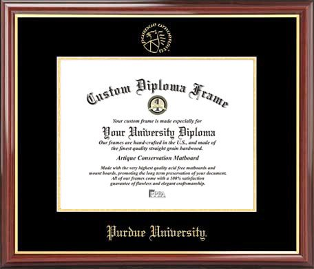 Purdue University Seal - Purdue University Boilermakers - Embossed Seal - Mahogany Gold Trim - Diploma Frame