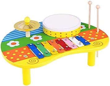 BSD Juguete Musical - Instrumento Musical para Niños - Mesa Musical de Madera - Xilófono y Tambor: Amazon.es: Juguetes y juegos