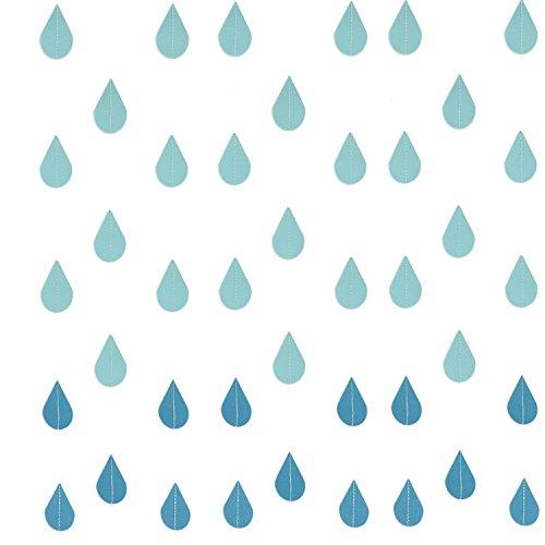 Buorsa 4 Set Gradual Blue Colors Paper Raindrop Garland for Nursery Decor April Showers Spring Shower Raindrop Baby Shower