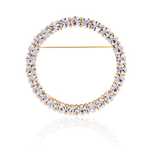 YYBONNIE Women's Elegant Cubic Zirconia Pearl Gold Open Ring Circle Wreath Brooch Pin Cardigan Scarf Lapel Pin Party Wedding Jewelry (Gold 60MM CZ Ring) (Pearl Wreath Brooch)