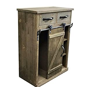 Rustic Wood Console Cabinet Distressed Farmhouse Wooden Kitchen Storage Cabinet Fully Assembled 33'' H Side End Table