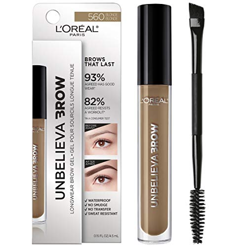 L'Oreal Paris Unbelieva-Brow Tinted Brow Makeup, Longwear, Waterproof Brow Gel, Sweat Resistant, Transfer Proof, Fills and Thickens Brows, Enhanced up to 48 Hours, Blonde, 0.15 fl. oz. (The Best Eyebrow Gel)