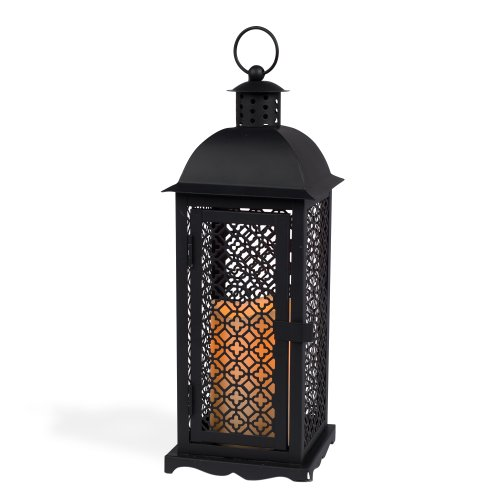 Gerson 13-Inch Antique Style Black Metal Mesh Lantern with 3 by 4.5-Inch Indoor/Outdoor LED Candle Metal Mesh Lantern