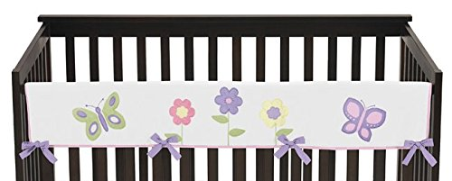 Sweet Jojo Designs Pink and Purple Butterfly Long Front Rail Guard Baby Girl Teething Cover Protector Crib Wrap by Sweet Jojo Designs