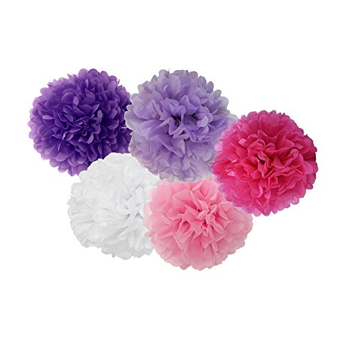 Guzon 15pcs 8'' 10'' 14'' Mixed Lavender Purple Rose Pink White Premium Tissue Paper Pom-poms Flower Ball Wedding Party Outdoor Decoration -