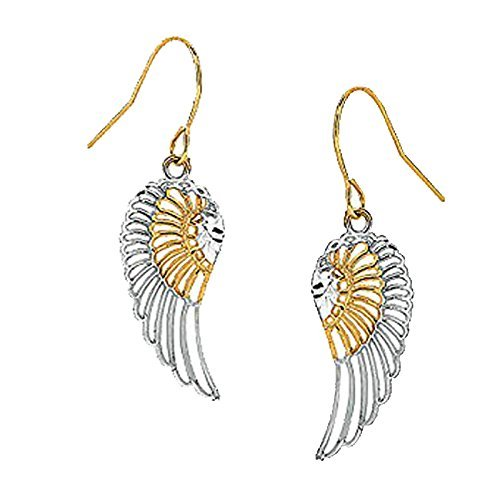10k Real Yellow White Gold Angel Wing Wings Dangling Earrings by Ritastephens