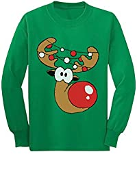 Tstars - Reindeer Face Funny Christmas Youth Kids Long Sleeve T-Shirt