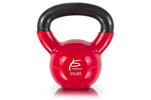 ProSource Vinyl Coated Cast Iron Kettlebells, Red - 20 lbs, Small/20 lb