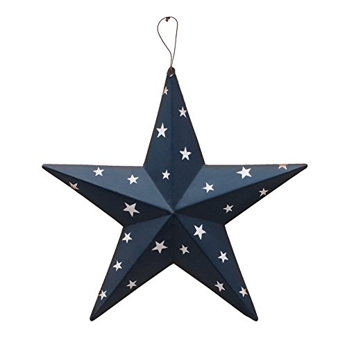 (Patriotic Metal Barn Star Wall Decor, 12'' Hanging Country Rustic Metal Star for July 4th Decoration (Blue))