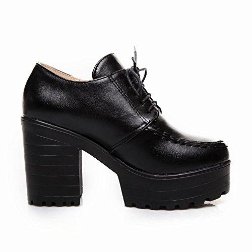 Carolbar womens lace up retro fashion pu platform chunky high heel oxfords shoes ankle boots Black VJaWthy