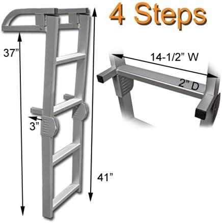 Pontoon Boat Heavy Duty 4 Step Removable Telescoping Boarding Ladder SSL-B4B