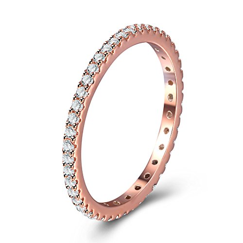 Full Micropave Thin Band Dainty Stacking Ring Wedding Band 14K Rose Gold Plating Size 4