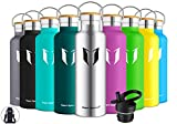 Super Sparrow Stainless Steel Vacuum Insulated Water Bottle, DStandard Mouth -350ml-620ml- 500ml & 750ml & 1L - BPA Free - with 2 Exchangeable Caps + Bottle Pouch (Stainless Steel, 620ml-21oz)