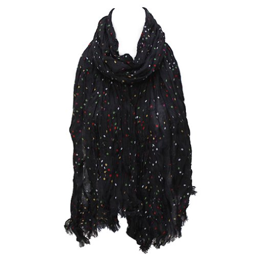 ACCESSORIESFOREVER Women Winter Cold Multi Color Dot Print Wrinkle Shawl Fashion Scarf Black