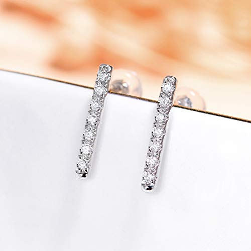Unique 18-karat gold diamond stud earrings simple diamond earrings rose gold platinum Japan and South Korea commuter style birthday gift present stud earrings for women