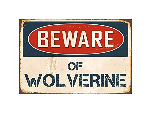 (Beware Wolverine Vintage Retro Metal Wall Art Tin Sign Christmas Funny Gifts for Men 8 x 12)