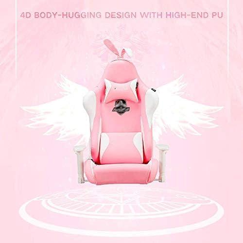 JISHIYU -Q Chaise de jeu ergonomique en cuir synthétique avec dossier haut et chaises de bureau Motif oreilles de lapin Rose