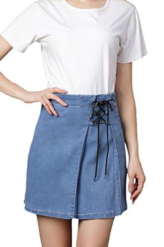 Suvotimo Une Jupe en Jean Taille Haute, des Jupes Plus Taille Mini - Jean Blue