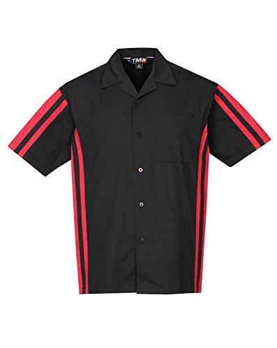 Shirt Camp Panel (Tri-Mountain Men's Contrast Panels Twill Camp Shirt, BLACK/RED, Large)