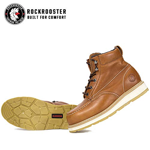 Ac808 Work ROCKROOSTER Soft Toe Water Shoes Resistant Safety Toe Boots Men Leather Soft Brown Steel UaUqPTw