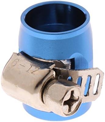 AN4ホースエンドフィニッシャーアルミオイルウォーターパイプクランプOD 14mm&9mm - 青