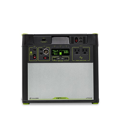 Goal Zero Yeti 3000 Lithium Portable Power Station, 3024Wh/280Ah Silent Gas Free Generator Alternative with 1500 Watt (3000 Watt Surge) AC Inverter, USB, 12V Outputs