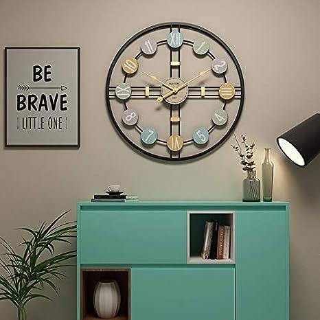 Funtabee - Reloj de pared con diseño de esqueleto de metal grande con manecillas doradas, moderno reloj de pared de 50cm, silencioso, ideal para salones, cocinas, pubs, lofts, cafés, oficinas, hierro