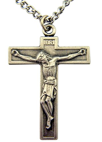 (Religious Gifts Pewter Jesus Christ Cross Crucifix Pendant with Bright Cut Accents, 1 1/2 Inch)