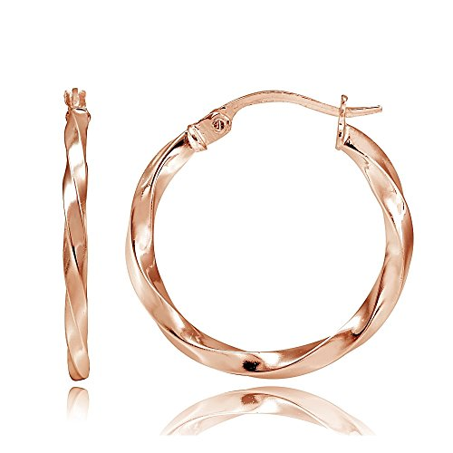 Hoops & Loops Flash Plated Rose Gold Sterling Silver 2mm Twist Round Hoop Earrings, 25mm ()