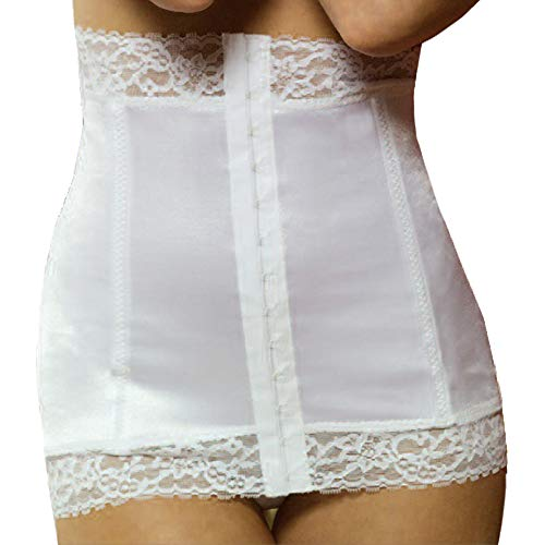 (Rago Luxury Satin And Lace Waist Cincher-WH-SMALL)