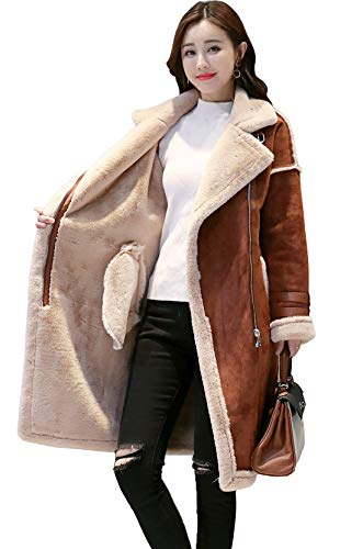 - Shineflow Women's Lapel Faux Fur Fleece Lined Parka Warm Winter Shearling Coat Leather Jacket (M, Coffee)