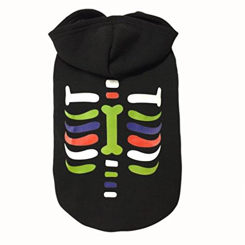 IEason Pet Clothes, Halloween Pumpkin Bone Pet Dog Dressing Halloween Sweater Shirt Dress Clothes (M, Black) -